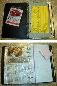 Binder with recipes in sheet protectors.