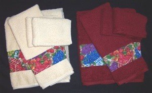 Wide fabric trim on towels.