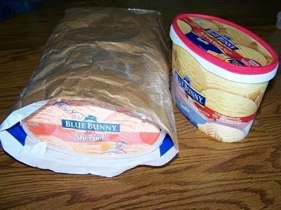 ice-cream container in cat food bag