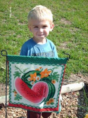 Small boy standing behind a garden flag.