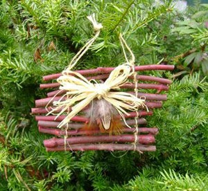 Twigs tied together in a decorative way.