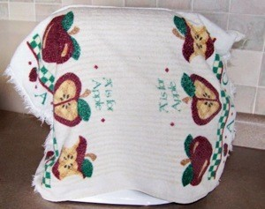 Towel cover for mixer.