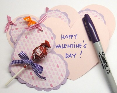 Lollipop Heart Card - heart shaped card with lolly and pen for message