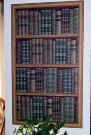 Wall decor, wallpaper bookcase.