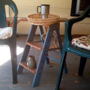 Beverage table from a stepstool and basket..