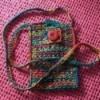 Multicolored crocheted purse.
