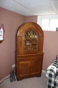 Rounded top cabinet.