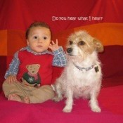 A baby boy and a dog sitting on a red background.