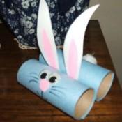 Blue cardboard tube bunny.