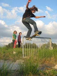 Skateboarder balanced on railing