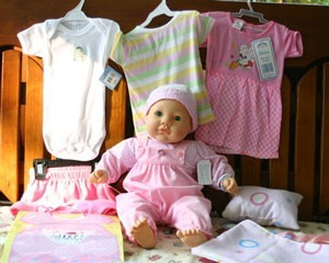 Doll with clothing.