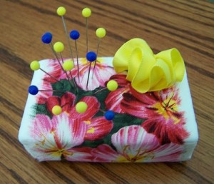 Fabric wrapped soap bar pin cushion.