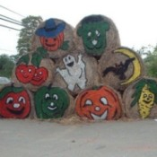 Rolled hay bales decorated for fall and Halloween.