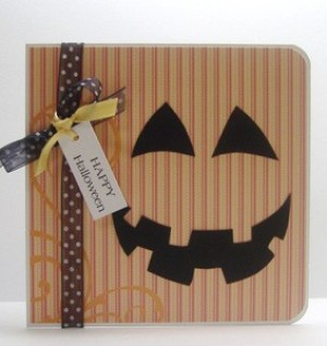 striped pumpkin paper card