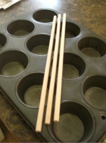 muffin tin and dowels