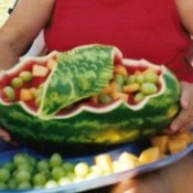 decoratively cut watermelon bowl
