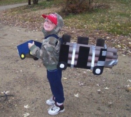 boy dressed as a truck