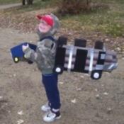 boy dressed as a truck