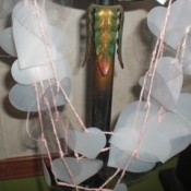 A Valentine's Day garland made from recycled plastic hearts.