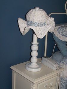 white ruffly basket lamp shade