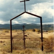 An old cemetery gate.