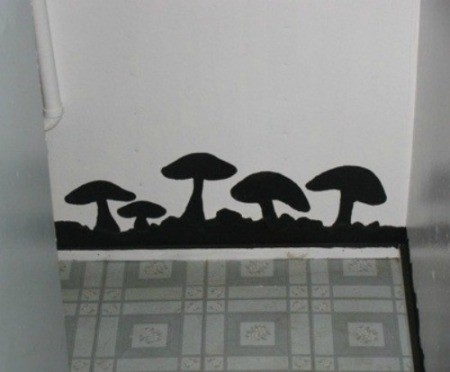 Black mushrooms painted on a wall to disguise water damage.