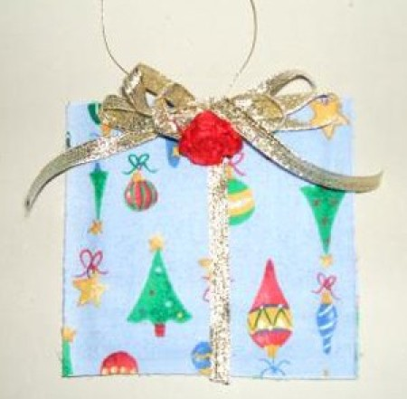 A sachet designed to look like a wrapped gift.