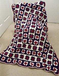 red, white, and blue afghan