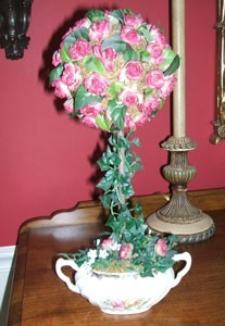 topiary with pink flowers