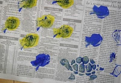 sea life stamped on newspaper