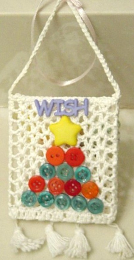 Purse shaped wallhanging.