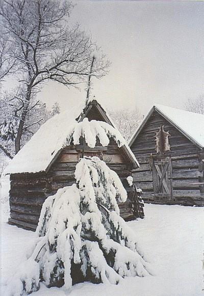 Snow covered shacks.