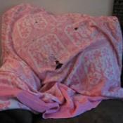 A worn pink blanket.