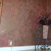 Torn paper bathroom wall.