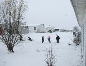 People playing in the snow.