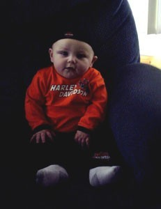 Baby in red Harley shirt