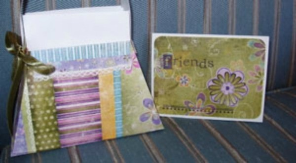 """Handstamped """"purse"""" for a gift of greeting cards."""