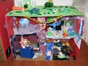 My Daughter Eryn Created Her Own Recycled Doll House Out Of Items From Around Our Home Large Cardboard Box For The Cereal Boxes As