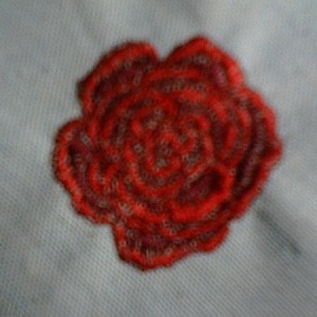 Red embroidered rose.