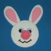 Bunny magnet with pink pom pom nose.