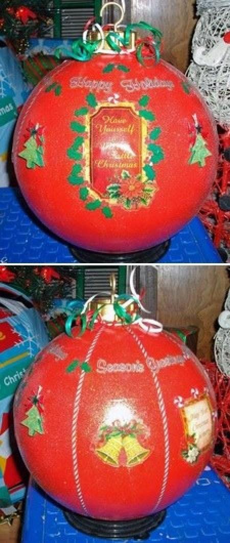 Christmas Bowling Ball Ornaments