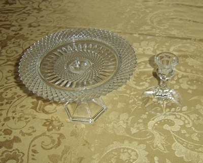 Glass plate on top of glass candle holder.