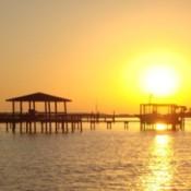 A golden sunrise over the ocean in North Carolina.
