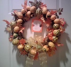 gourd wreath on door