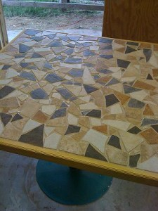 geometric design plywood table