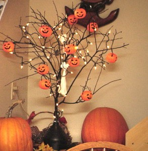 decorated tree branch - Halloween Tree Decorations