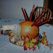pumpkin turkey with candle feathers