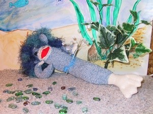 red heel sock mermaid