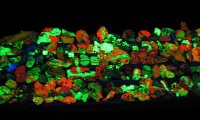 rocks illuminated by black light