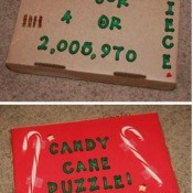A candy cane puzzle gag gift.